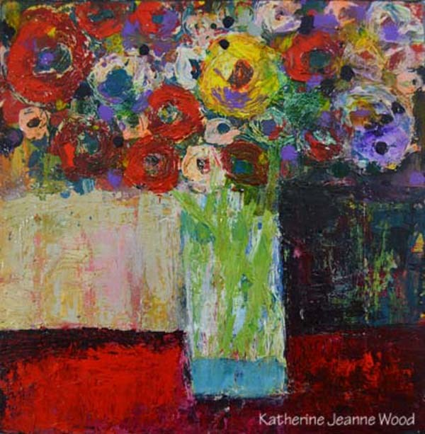 """Acrylic Still Life Floral Painting - Flower Series No 53"" original fine art by Katie Jeanne Wood"