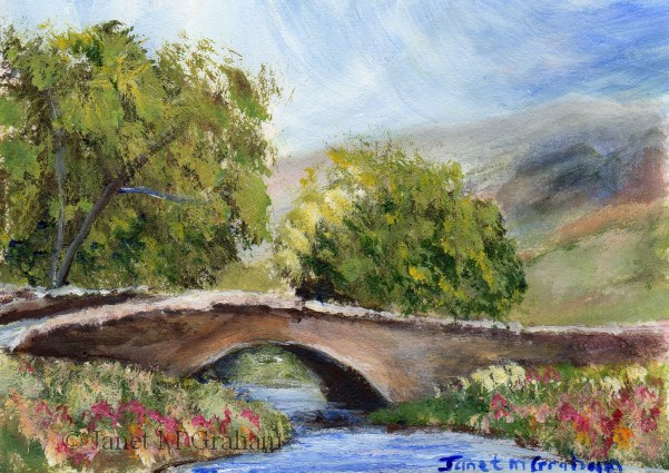 """Country Bridge ACEO"" original fine art by Janet Graham"