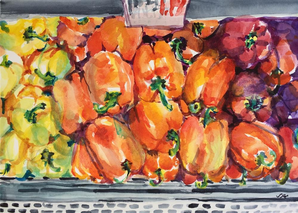 """Yellow, Orange and Red Peppers"" original fine art by Jean Krueger"