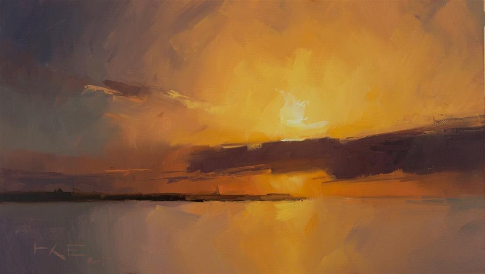 """Sunset over Reykjavík"" original fine art by Thorgrimur Andri Einarsson"