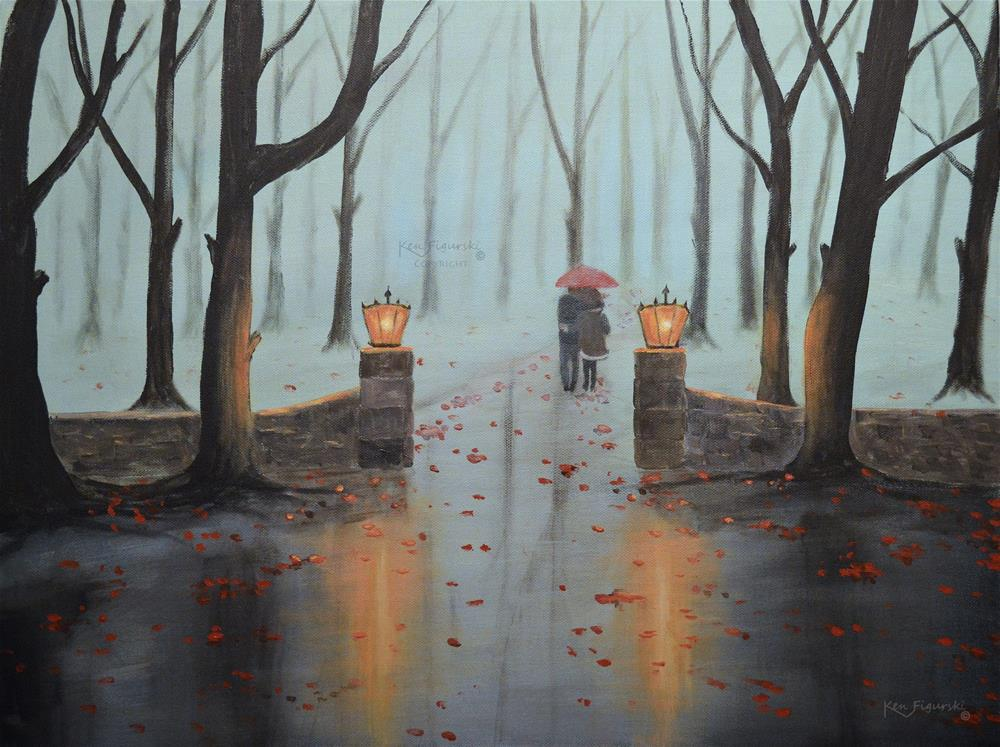 """A Foggy Autumn Evening"" original fine art by Ken Figurski"