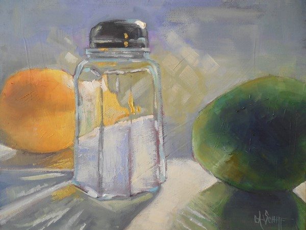 """Daily Painting, Small Oil Painting, Kitchen Still Life, Lemon, Lime, Salt by Carol Schiff, 11x14x1"" original fine art by Carol Schiff"