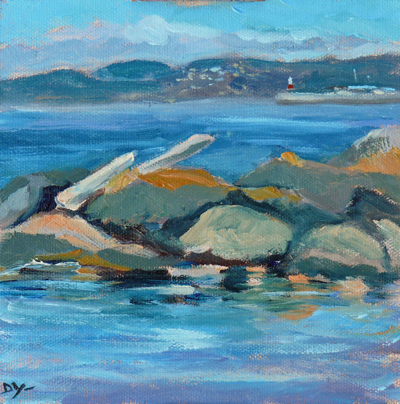 """Towards Ogden Point, 6x6 oil on canvas board"" original fine art by Darlene Young"
