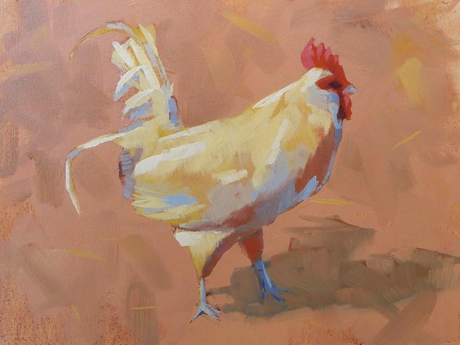 """Barnyard Rooster"" original fine art by Adam Houston"