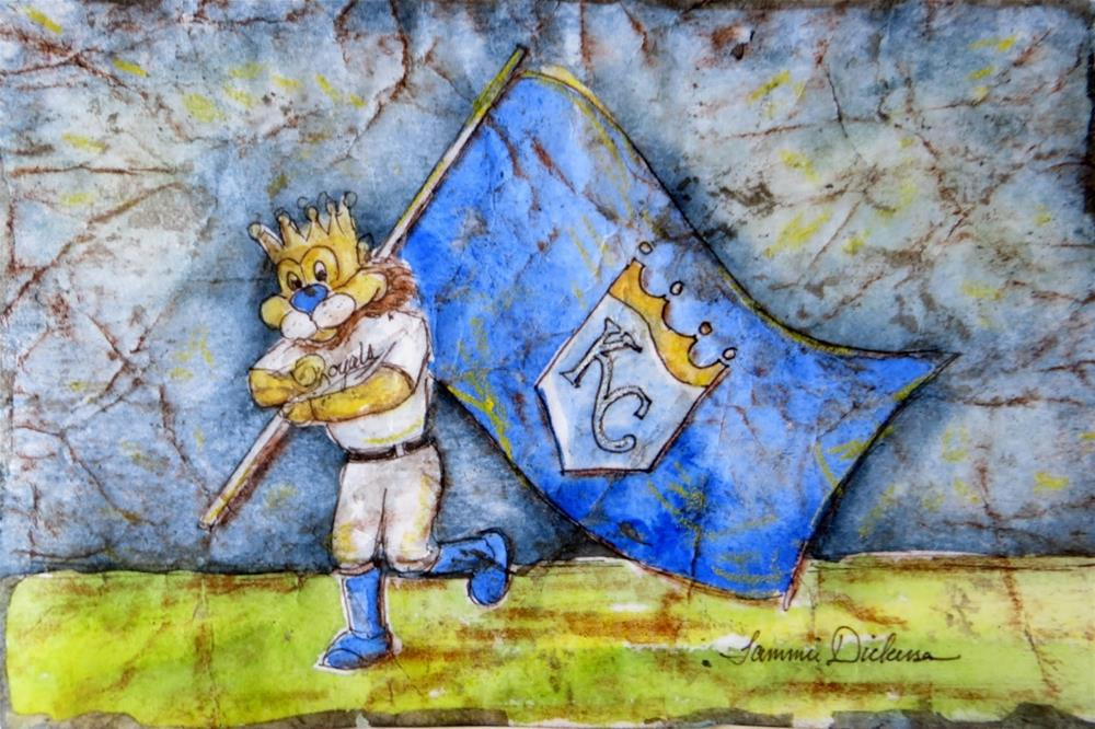 """Slugerrr Carrying Flag"" original fine art by Tammie Dickerson"