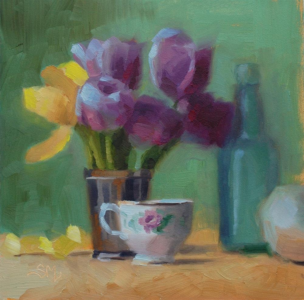 """No. 581  Tulips and Teacup"" original fine art by Susan McManamen"