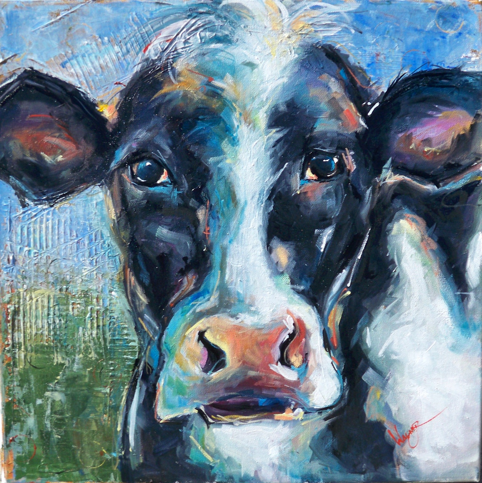 """COW ON TEXTURED BACKGROUND"" original fine art by Olga Wagner"