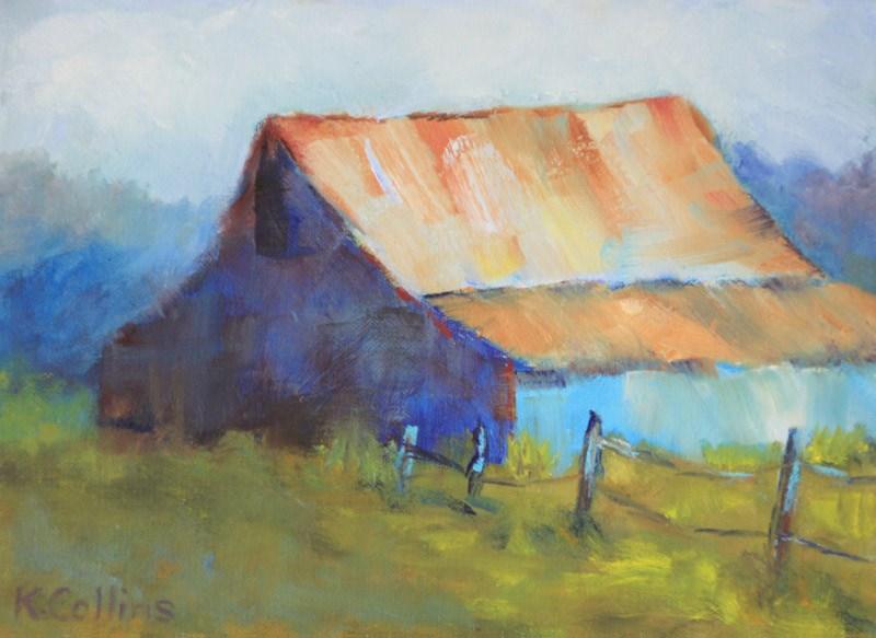 """Blue Barn"" original fine art by Kathy Collins"