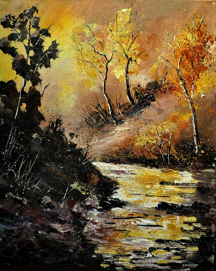 """River in Autumn"" original fine art by Pol Ledent"