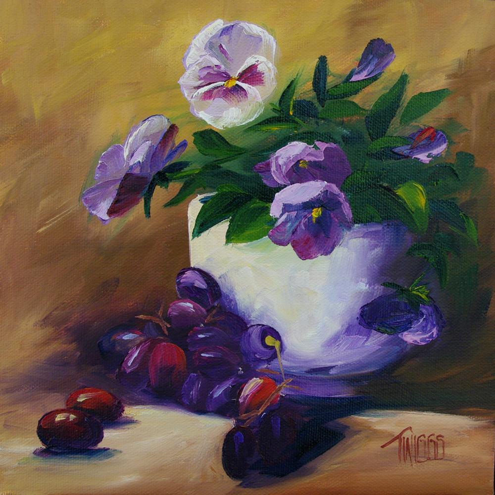 """Pansies & Grapes"" original fine art by Lori Twiggs"