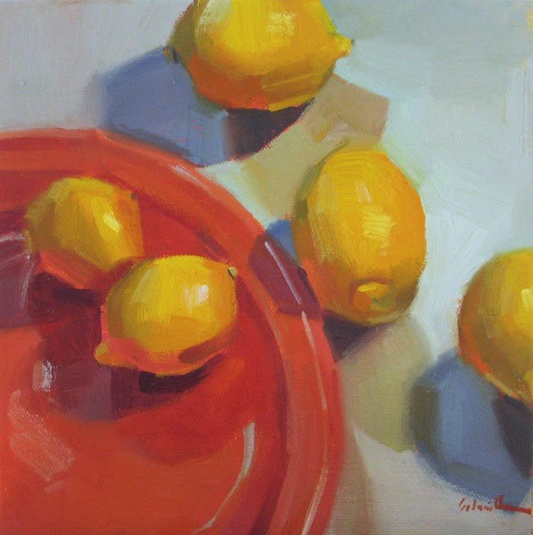 """Five Exciting Lemons"" original fine art by Sarah Sedwick"