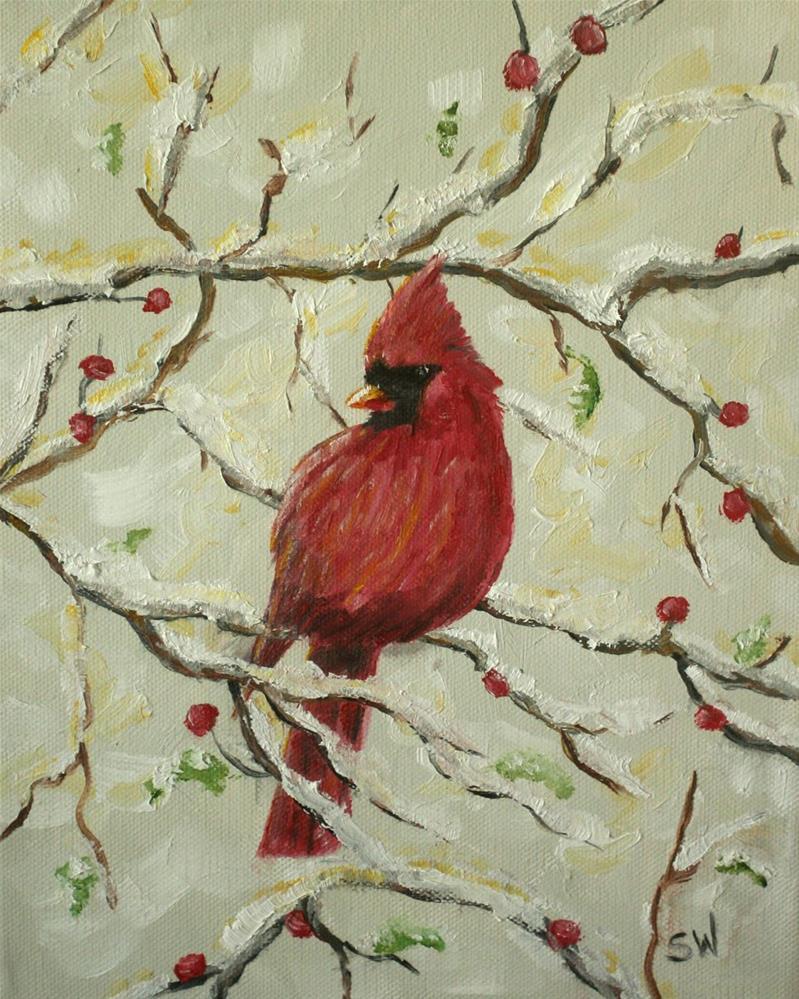 """Cardinal in the Snow"" original fine art by Sunny Williams"