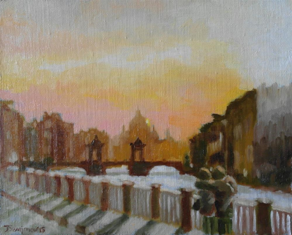 """romantic sunset in St.Petersburg"" original fine art by Yuriy Semyonov"