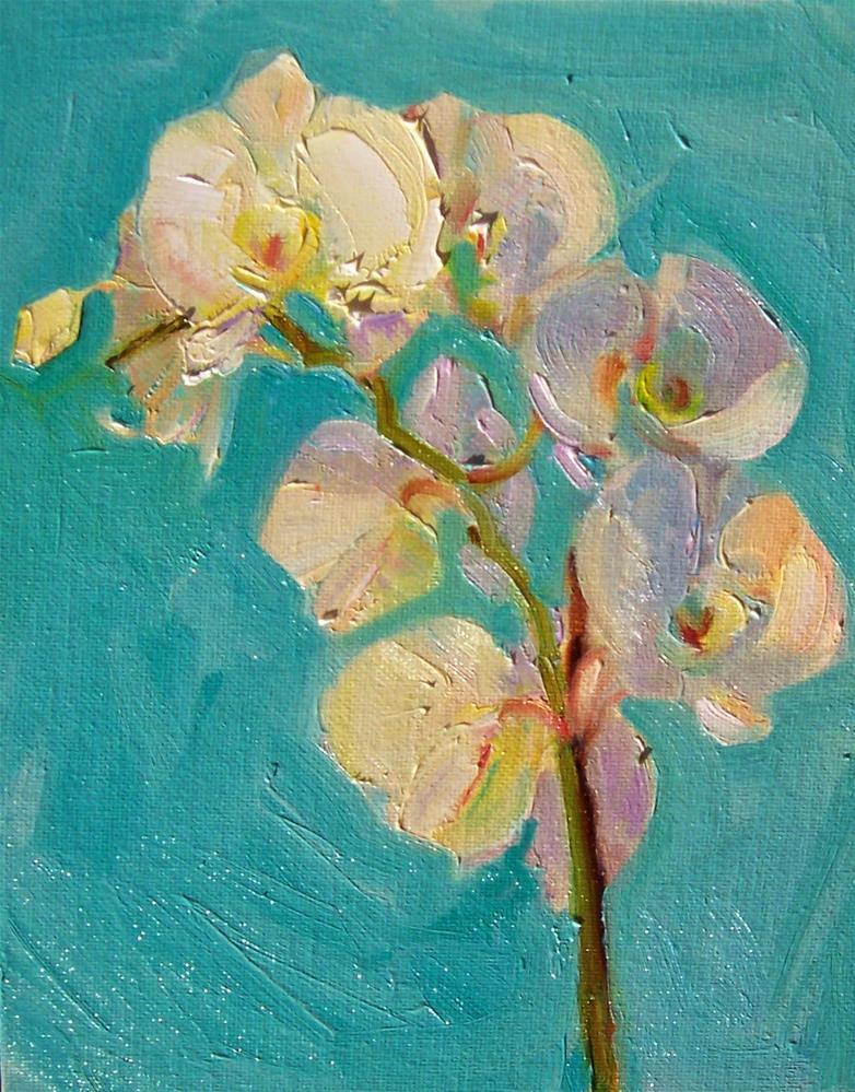 """December Orchid,still life,oil on canvas,10x8,price$250"" original fine art by Joy Olney"