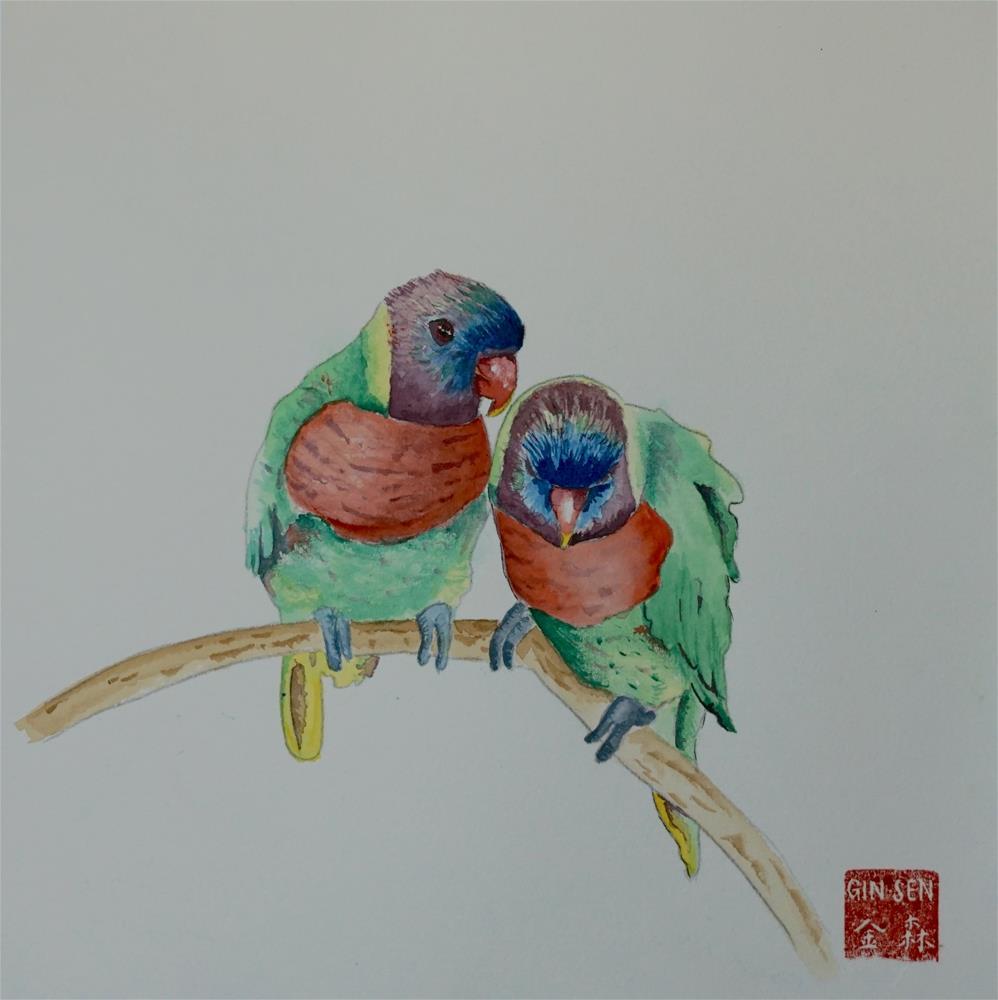 """Love Birds"" original fine art by Gin Sen"