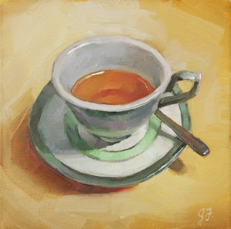 """A Cup of Tea"" original fine art by Jeannette Fromm"