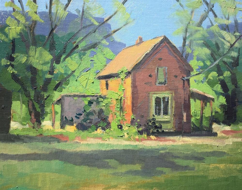 """Utah Bricks and Spring Greens"" original fine art by Mary Jabens"