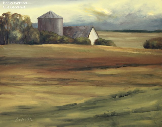 """Heavy Weather farm landscape painting"" original fine art by Sue Cervenka"