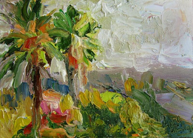 """Two Palms"" original fine art by Carol Steinberg"