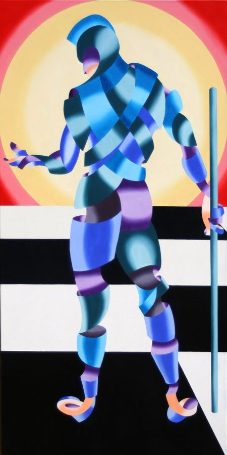 """Mark Adam Webster - Jesse - Abstract Geometric Futurist Figurative Oil Painting"" original fine art by Mark Webster"