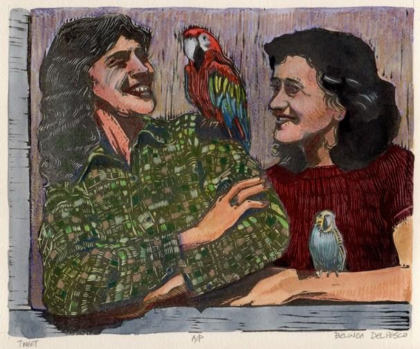 """Linocut: Tweet (Macaw & Budgie)"" original fine art by Belinda Del Pesco"