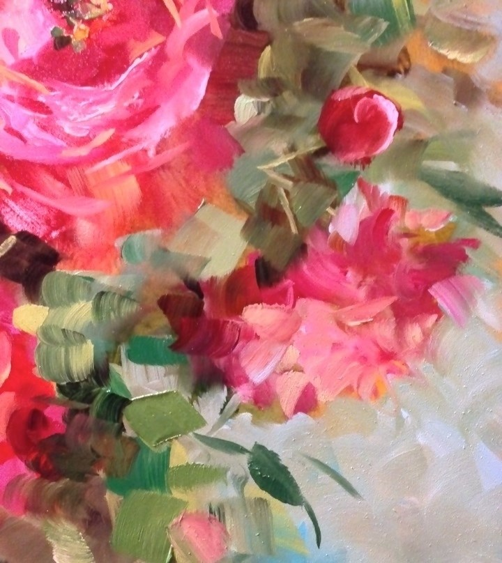 """Peonies and Halos Blooming in Flower Mound Studio"" original fine art by Nancy Medina"