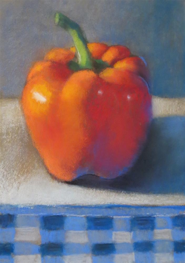 """Red Pepper in Blue Gingham"" original fine art by Judy Albright"