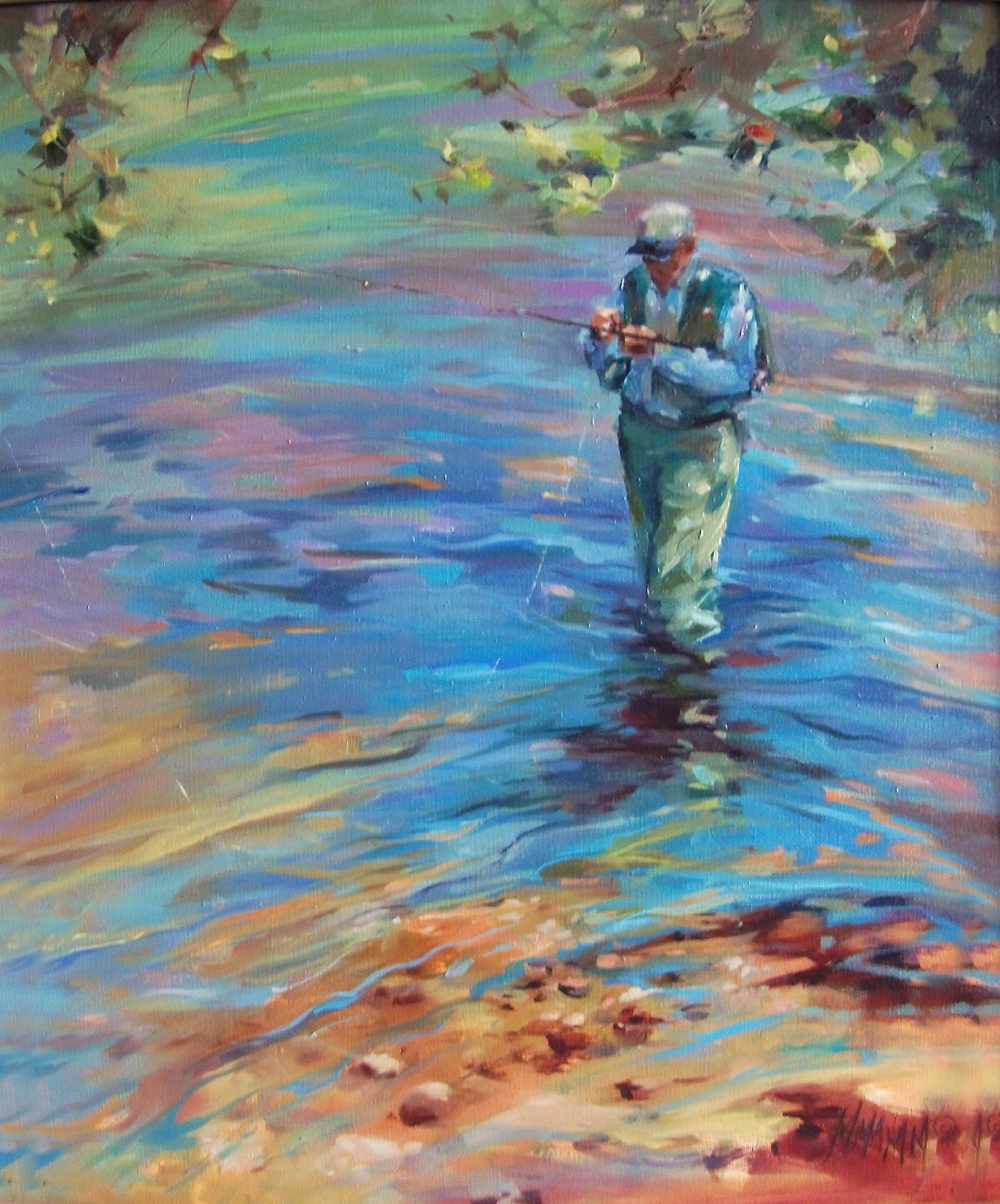 """Tying One On"" original fine art by Mary Maxam"