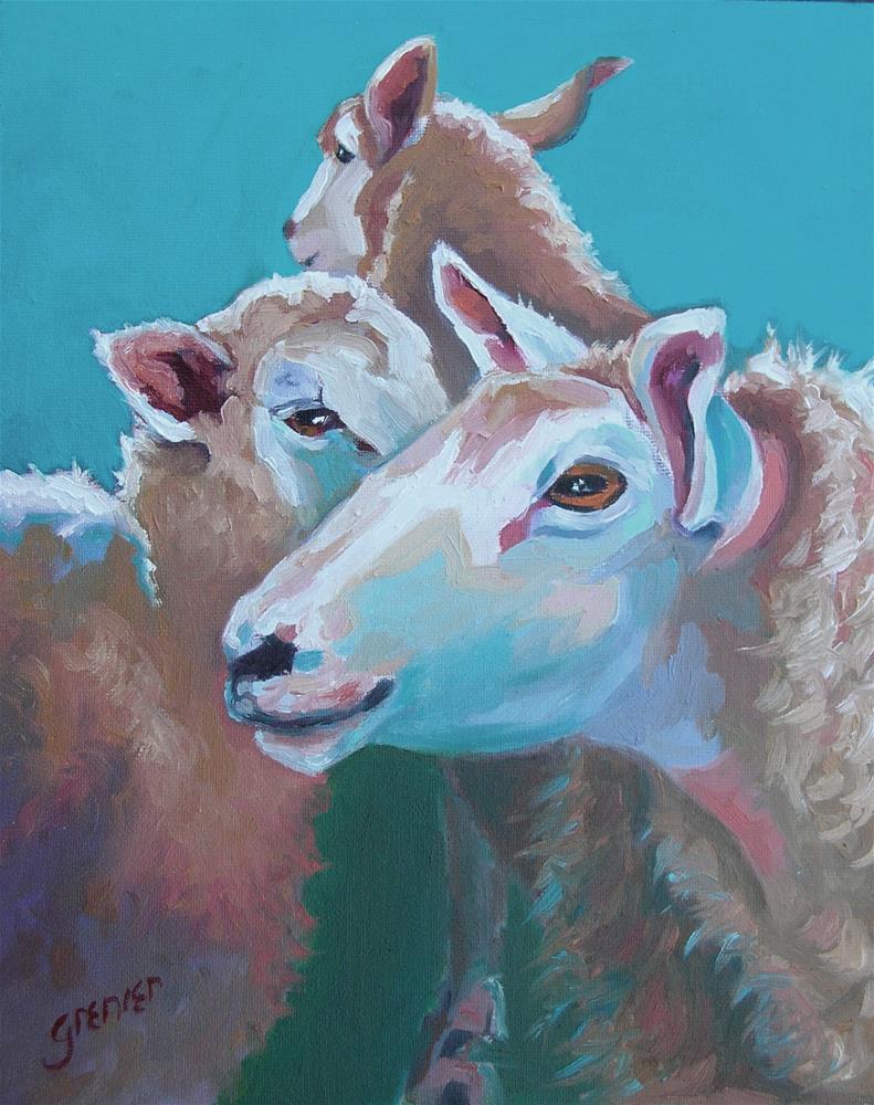 """Original Oil Sheep in the Barn signed Jean Grenier"" original fine art by jean grenier"