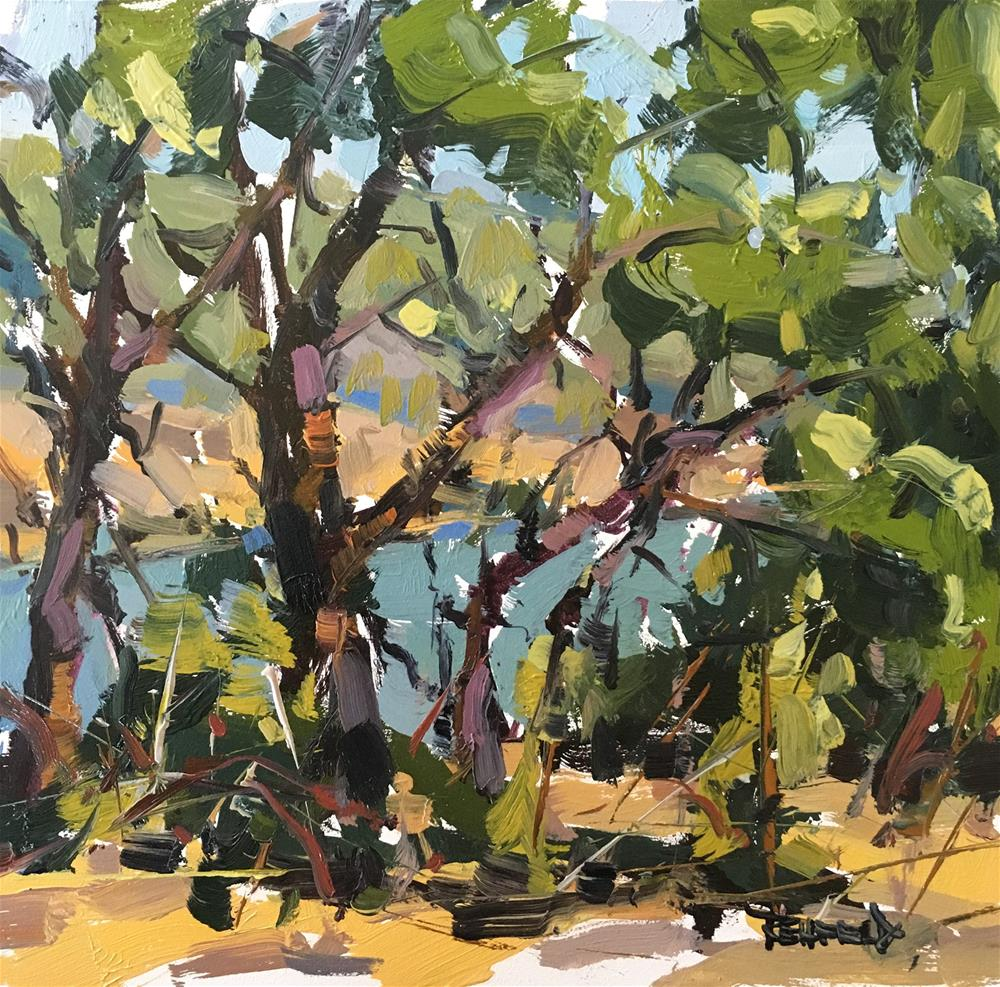 """Oaks And Blackberries By The Columbia River"" original fine art by Cathleen Rehfeld"