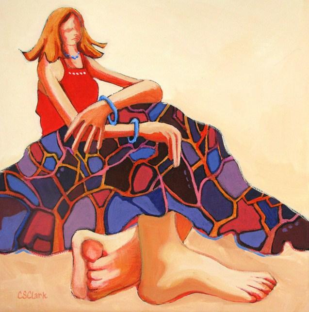 """Comfortably Barefoot"" original fine art by Carolee Clark"