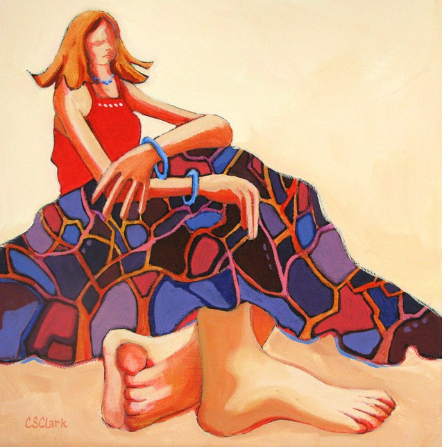 Comfortably Barefoot original fine art by Carolee Clark