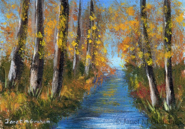 """Autumn Stream ACEO"" original fine art by Janet Graham"