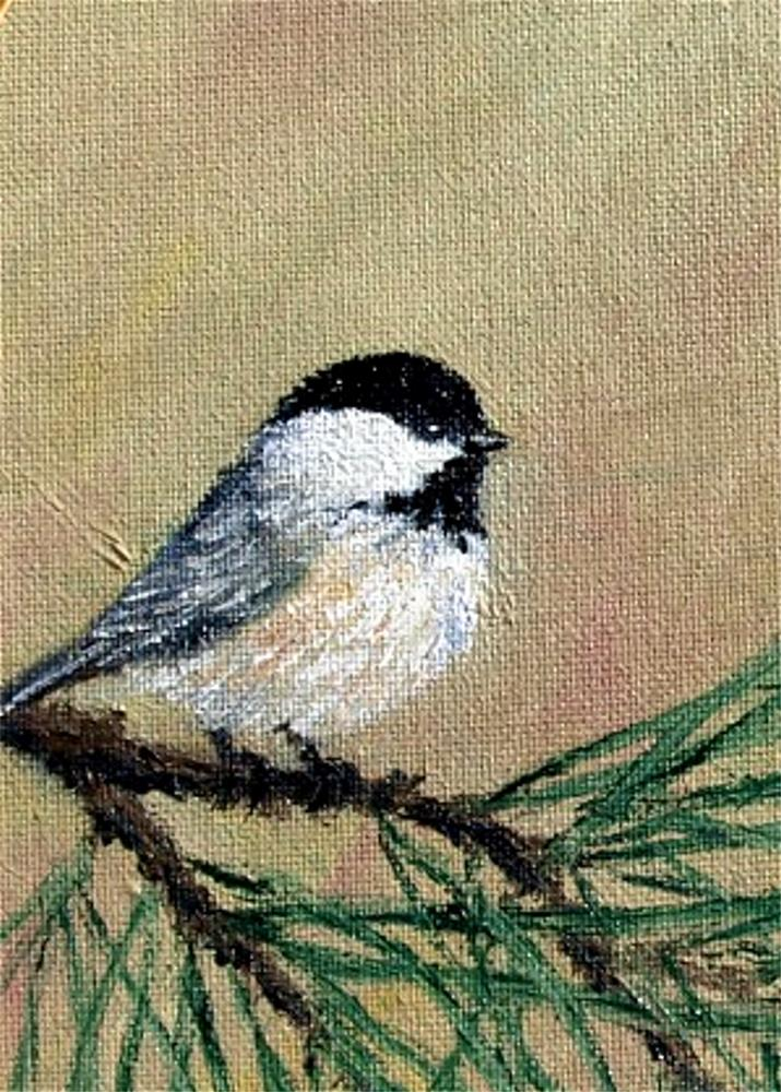 """Chickadee Set 17 - Bird 1 - (Matched Pair of Framed Oval Oil Paintings)"" original fine art by Kathleen McDermott"