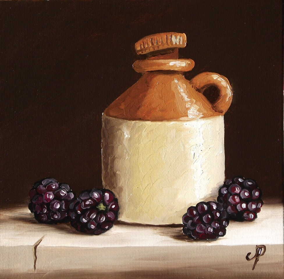 """Cider bottle with Blackberries"" original fine art by Jane Palmer"