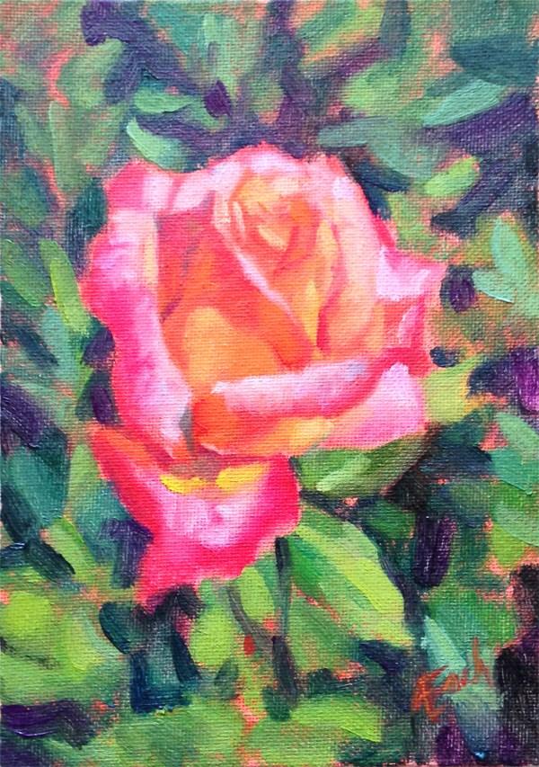 """""""Bright Pink Rose"""" original fine art by Audra Esch"""