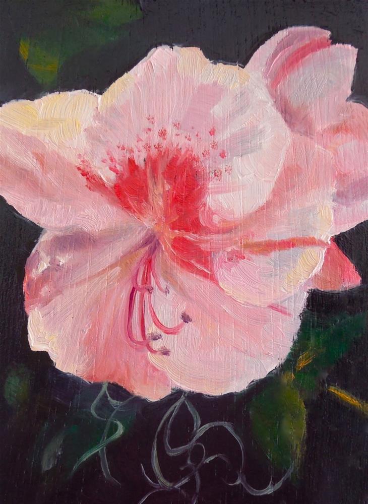 """The Last Azalea, 3x4 Oil on Panel, Small Floral Painting"" original fine art by Carmen Beecher"