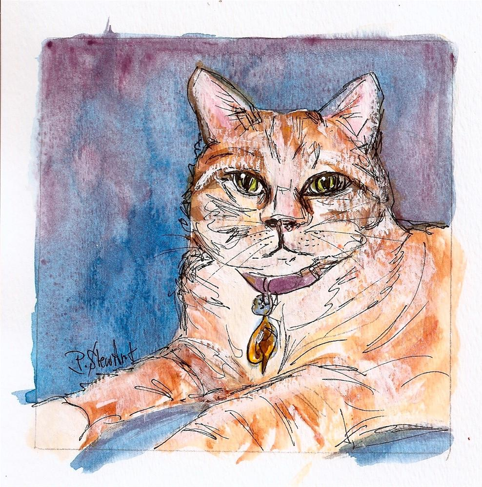 """Jinx the Cat, Watercolor and Pen, Orange Tabby Cat by Penny Lee StewArt"" original fine art by Penny Lee StewArt"