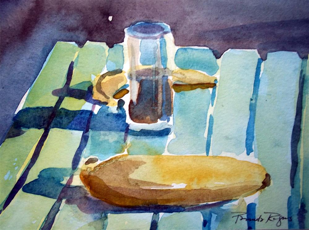 """Bananas in Santorini?"" original fine art by Pamela Jane Rogers"