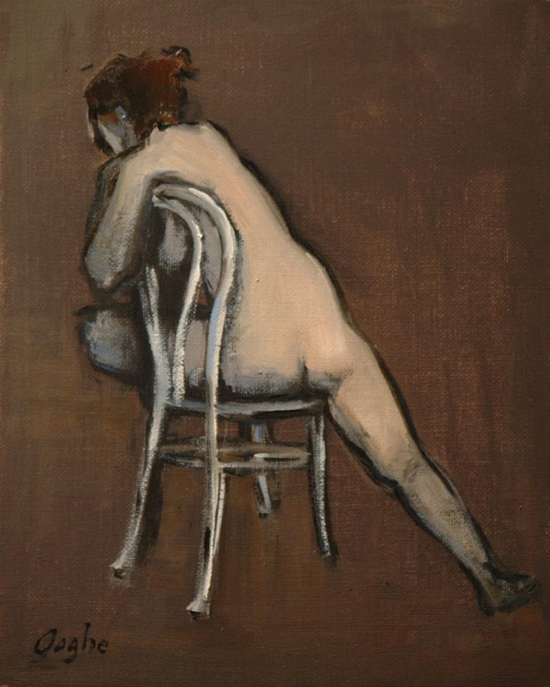 """Woman on White Chair"" original fine art by Angela Ooghe"