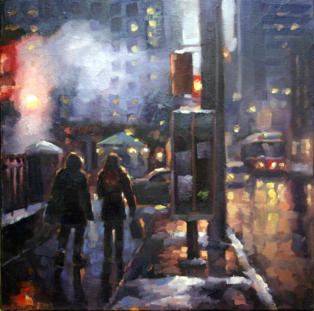 """Crisp Evening Shopping, Simcoe and King Streets"" original fine art by Catherine Jeffrey"