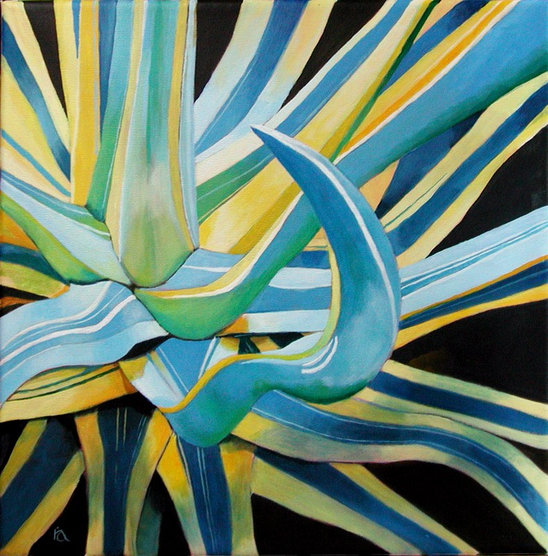 Blue Agave plant original fine art by Ria Hills