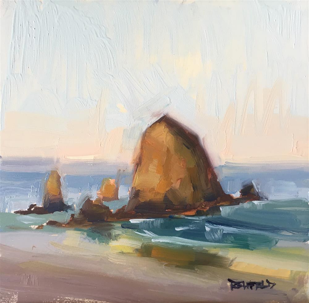 """Haystack Rock Cannon Beach OR"" original fine art by Cathleen Rehfeld"