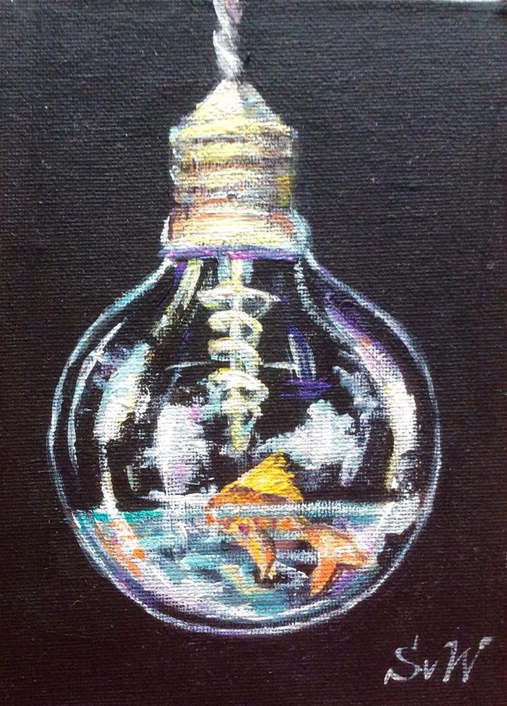 """Edison Light Bulb and Goldfish Painting"" original fine art by Sonia von Walter"