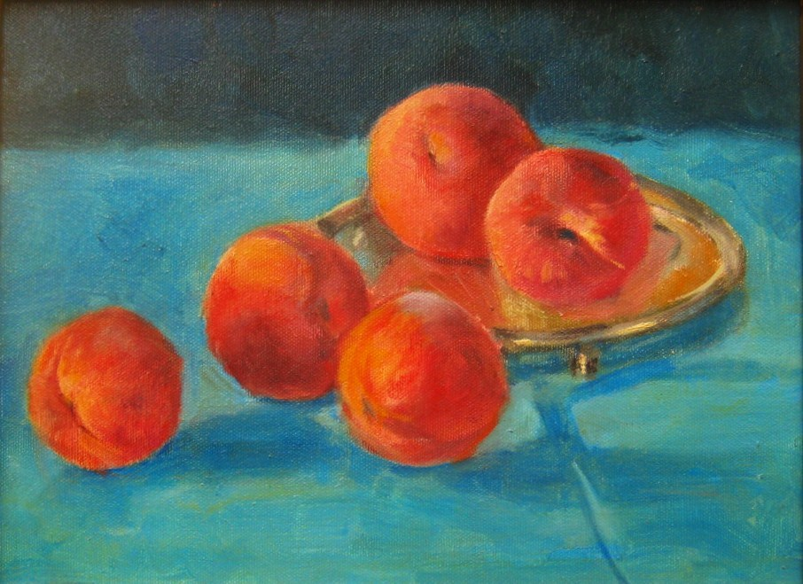 """Peaches on Silver"" original fine art by Connie Snipes"