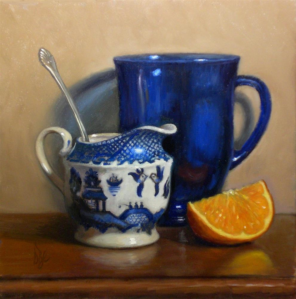 """Blue Glass and Orange"" original fine art by Debra Becks Cooper"