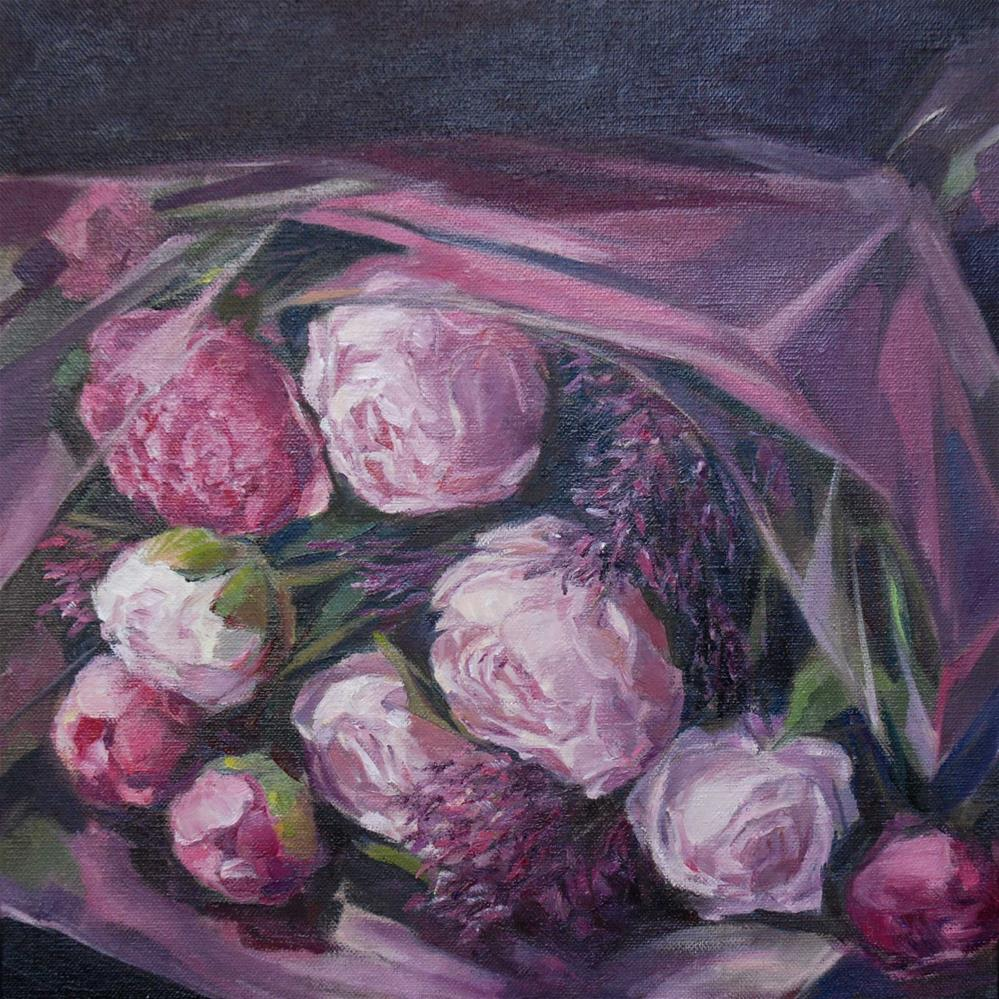 """Bouquet for Maryia"" original fine art by Olga Touboltseva-Lefort"