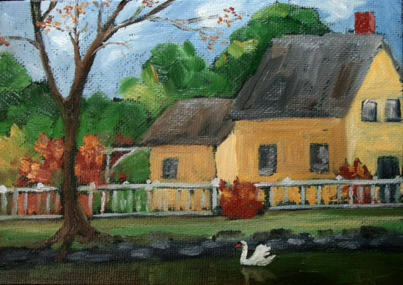 """French Country Cottage and Swan"" original fine art by Jean Nelson"