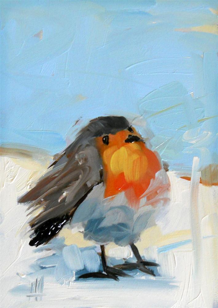 robin redbreast no. 8 original fine art by Angela Moulton