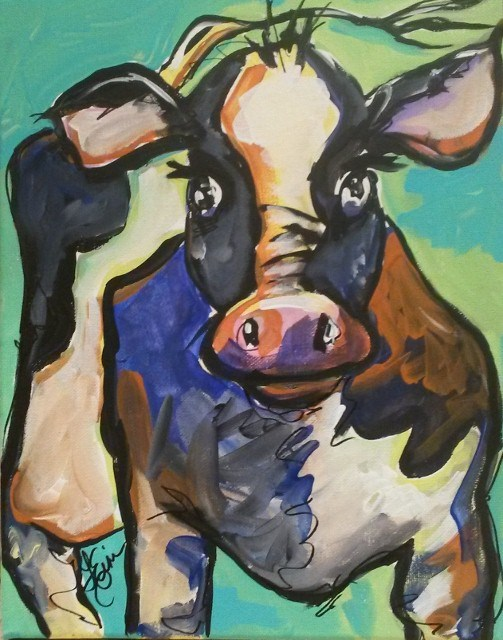 """30 Paintings in 30 Days-Day 28-Abstract Cow"" original fine art by Terri Einer"